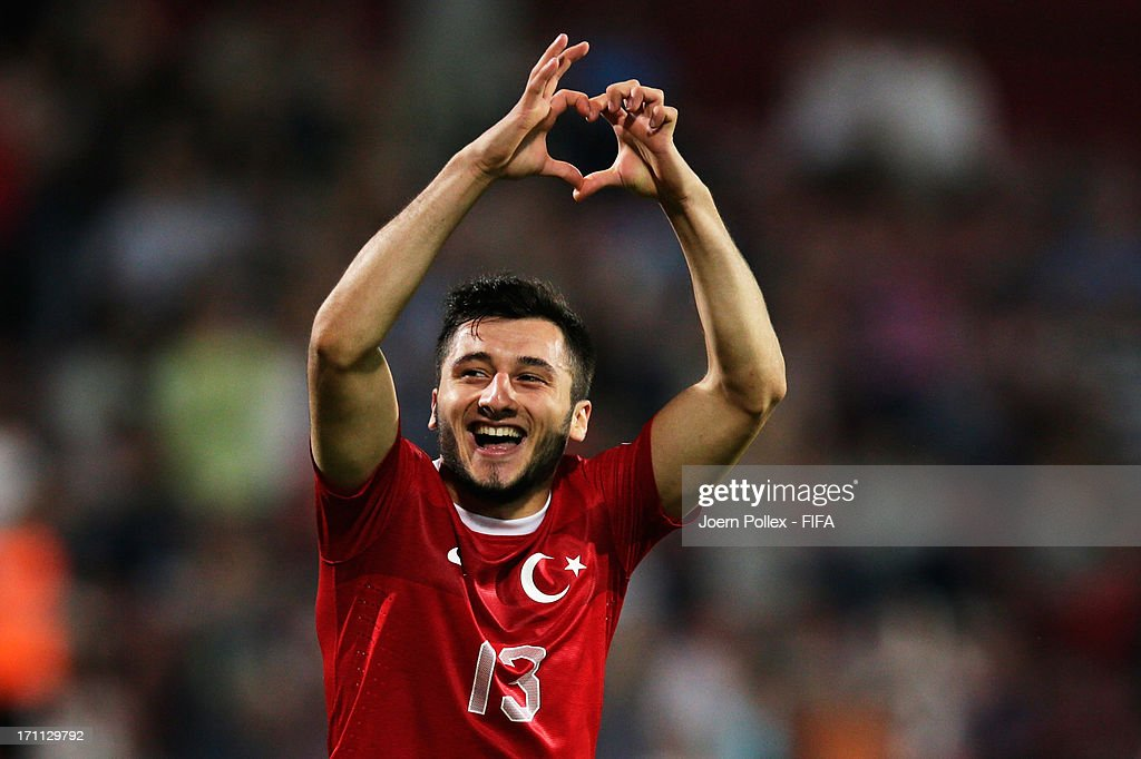 Cenk Sahin of Turkey celebrates after scoring his team's second goal during the FIFA U-20 World Cup Group C match between Turkey and El Salvador at Huseyin Avni Aker Stadium on June 22, 2013 in Trabzon, Turkey.