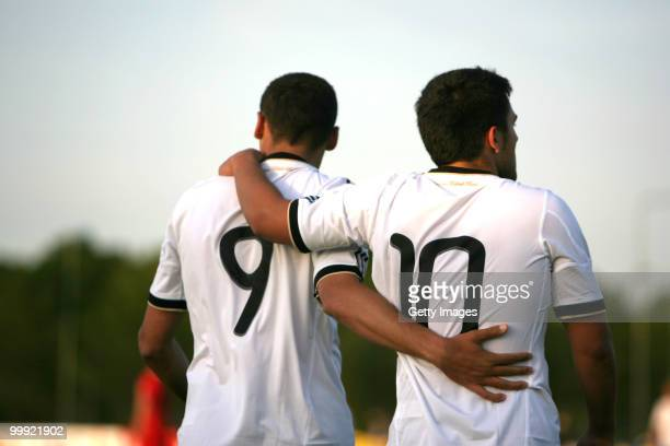 Cenk Tosun and Marcos Alvarez of Germany celebrate after scoring a goal during the U19 Championship Elite Round match between Germany and Poland at...
