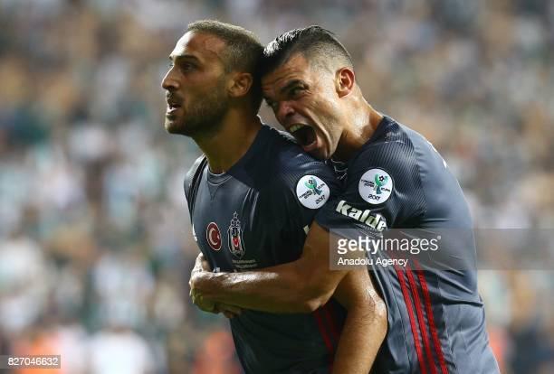 Cenk Tosun and Pepe of Besiktas celebrate after scoring a goal during the Turkcell Super Cup match between Besiktas and Atiker Konyaspor at Samsun...