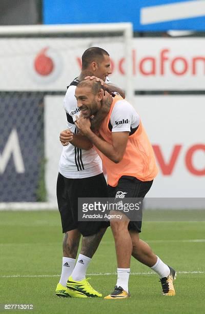 Cenk Tosun and Ricardo Quaresma of Besiktas attend a training session ahead of the Turkish Spor Toto Super Lig new season match between Besiktas and...
