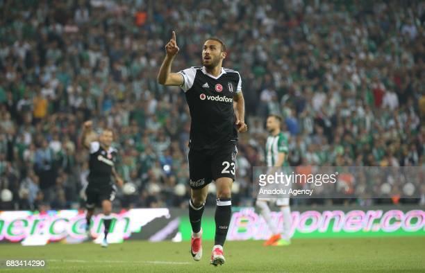 Cenk Tosun of Besiktas celebrates after scoring a goal during the Turkish Spor Toto Super Lig soccer match between Bursaspor and Besiktas at the...