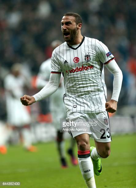 Cenk Tosun of Besiktas celebrates after scoring a goal during UEFA Europa League Round of 32 match between Besiktas and Hapoel BeerSheva at Vodafone...