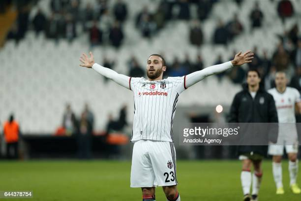 Cenk Tosun of Besiktas celebrates their victory after UEFA Europa League Round of 32 match between Besiktas and Hapoel BeerSheva at Vodafone Arena in...