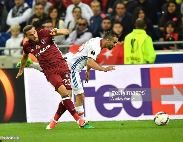 Cenk Tosun of Besiktas in action against Jeremy Morel of Olympique Lyonnais during the UEFA Europa League first leg quarter final football match...