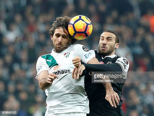 Cenk Tosun of Besiktas in action against Merter Yuce of Bursaspor during the Turkish Spor Toto Super Lig soccer match between Besiktas and Bursaspor...