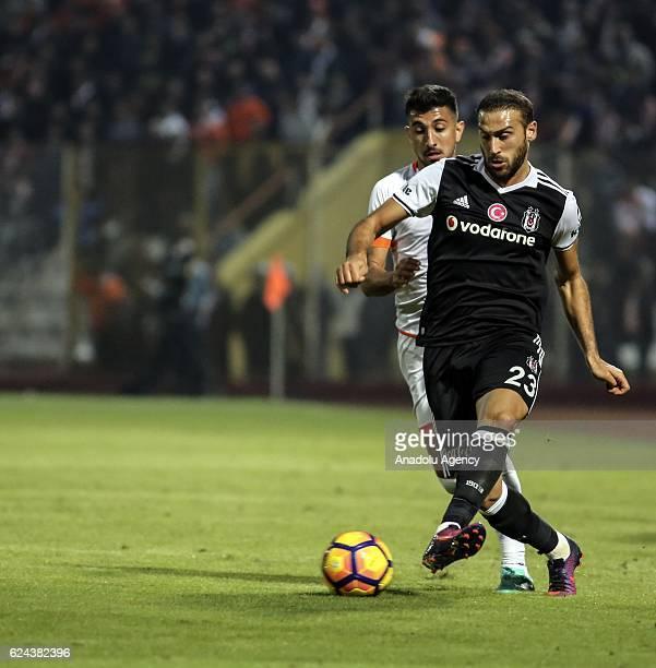 Cenk Tosun of Besiktas in action during the Turkish Spor Toto Super Lig match between Adanaspor and Besiktas at Adana 5 Ocak Fatih Terim Stadium in...
