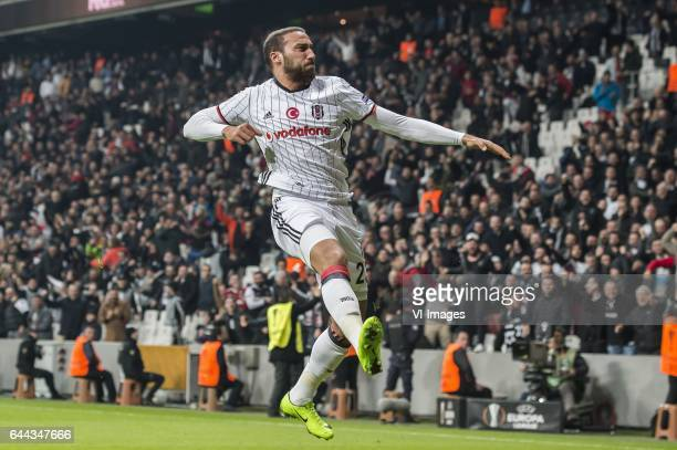 Cenk Tosun of Besiktas JK celebrate the winning goalduring the UEFA Europa League round of 16 match between Besiktas JK and Hapoel Beer Sheva on...