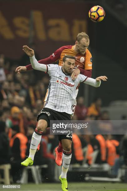Cenk Tosun of Besiktas JK Semih Kaya of Galatasarayduring the Turkish Spor Toto Super Lig football match between Galatasaray SK and Besiktas JK on...