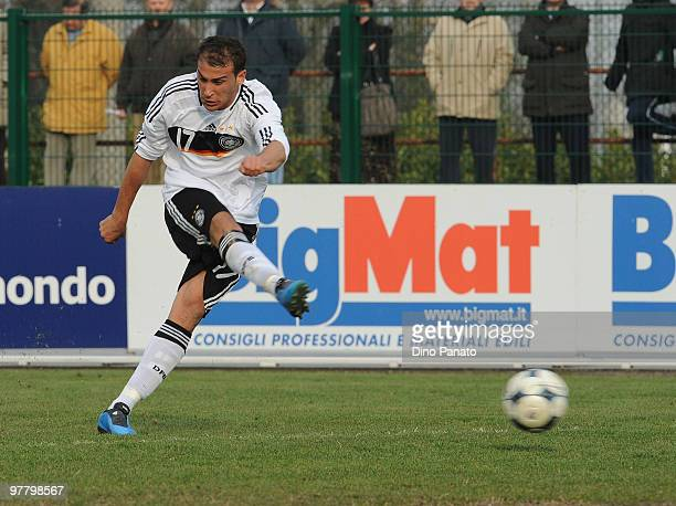 Cenk Tosun of Germany shoots at goal during the U19 International Friendly match between Italy and Germany on March 17 2010 in Sacile Italy