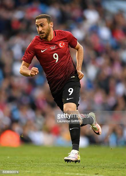 Cenk Tosun of Turkey in action during the International Friendly match between England and Turkey at Etihad Stadium on May 22 2016 in Manchester...
