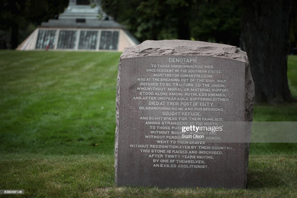 A cenotaph, a memorial to the Civil War-era 'exiled abolitionists,' sits near the Confederate Mound monument on August 23, 2017 in Chicago, Illinois. The cenotaph was sponsored by an abolitionist who fled north during the war. Confederate Mound was dedicated in 1895 as a memorial to more than 4,000 Confederate prisoners of war who died in captivity at Camp Douglas and are buried around the monument. The monument, which is maintained by the National Park Service, is located inside the private Oak Woods Cemetery on Chicago's southside. Cities around the country are debating what to do with Confederate monuments following recent protests and calls for their removal.