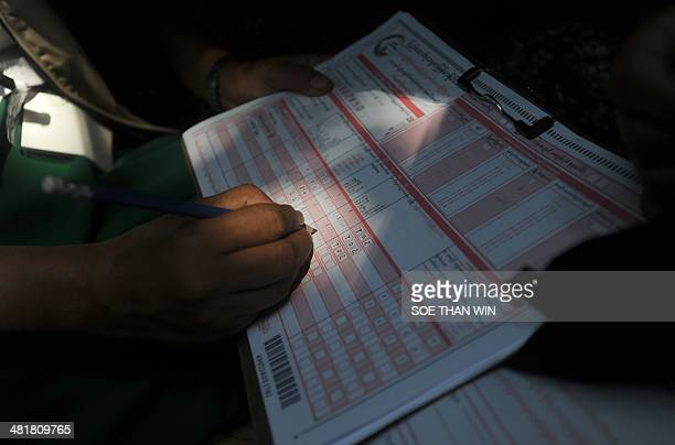 A census enumerator writes down data at an Internally displaced camp at Theechaung village on the outskirts of Sittwe western Myanmar state of...