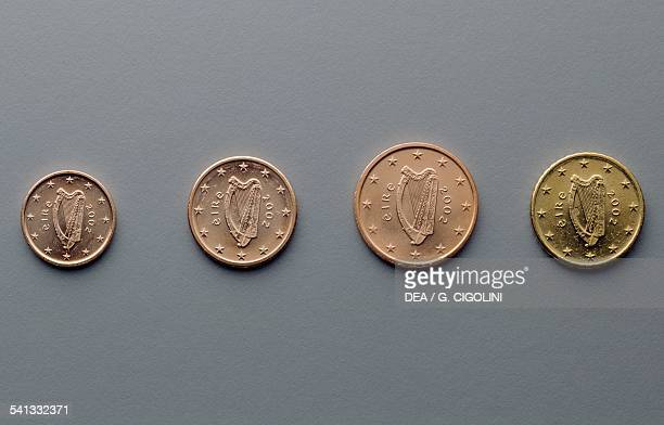 1 cent 2 cent 5 cent and 10 cent euro coins issued in Ireland obverse depicting Celtic harp Europe 21st century