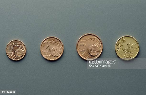 1 cent 2 cent 5 cent and 10 cent euro coins reverse with globe map of Europe Europe 21st century