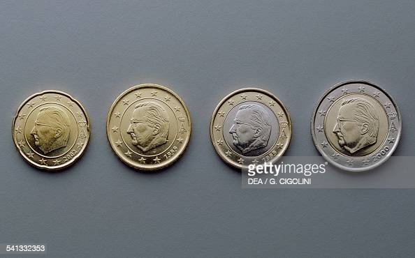 20 cent 50 cent 1 euro and 2 euro coins issued in Belgium obverse depicting King Albert II Europe 21st century