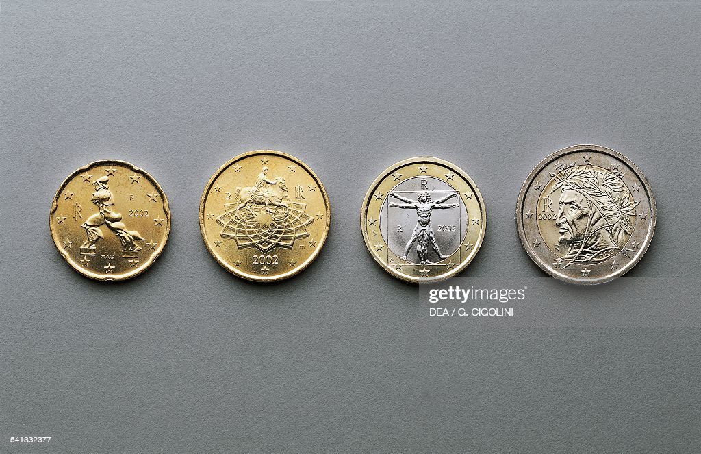 20 cent 50 cent 1 euro and 2 euro coins issued in Italy obverse depicting Unique Forms of Continuity in Space by Umberto Boccioni Roman emperor...