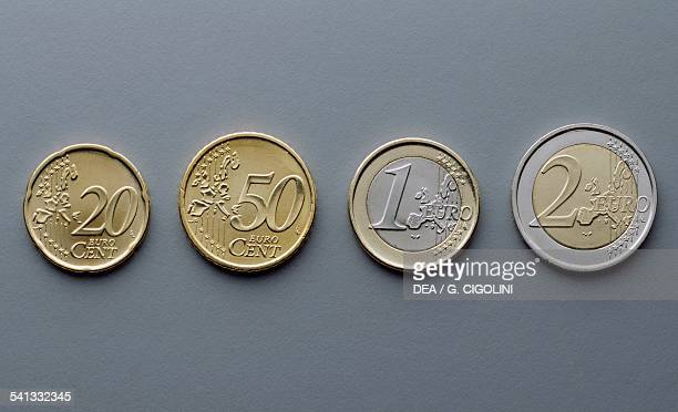 20 cent 50 cent 1 euro and 2 euro coins reverse depicting a map of Europe Europe 21st century
