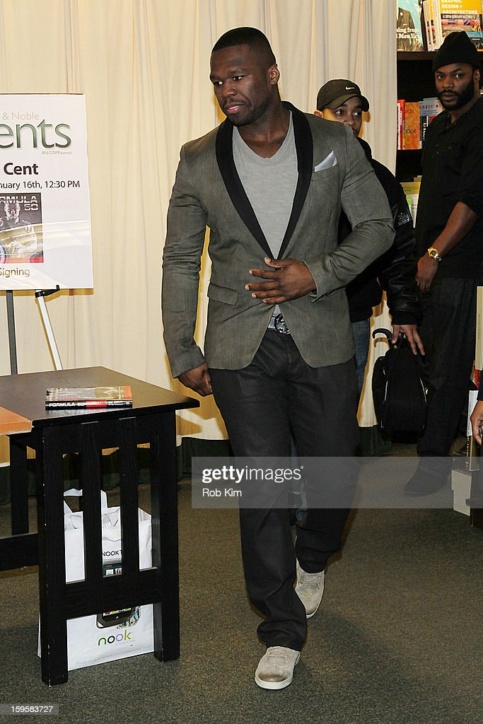 <a gi-track='captionPersonalityLinkClicked' href=/galleries/search?phrase=50+Cent+-+Rapper&family=editorial&specificpeople=215363 ng-click='$event.stopPropagation()'>50 Cent</a>, aka Curtis Jackson promotes his new book 'Formula 50: A 6-Week Workout and Nutrition Plan That Will Transform Your Life' at Barnes & Noble, 5th Avenue on January 16, 2013 in New York City.