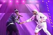 Cent and Chris Brown perform onstage during the 'Between The Sheets' tour at Barclays Center of Brooklyn on February 16 2015 in New York City