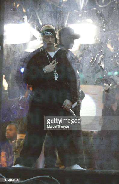 50 cent and Eminem during Eminem and 50 Cent Appearing and Performing on MTV's 'TRL' December 4 2006 at MTV Studios Times Square in New York City New...