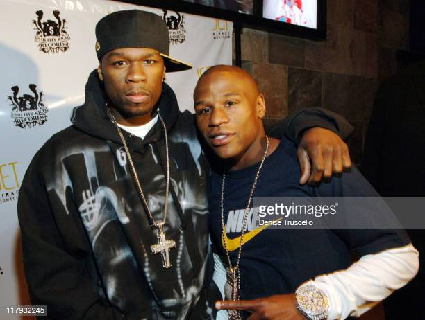 50 Cent and Floyd Mayweather Jr during Floyd Mayweather Jr's 30th Birthday Party Red Carpet at JET Nightclub at The Mirage Hotel and Casino Resort at...