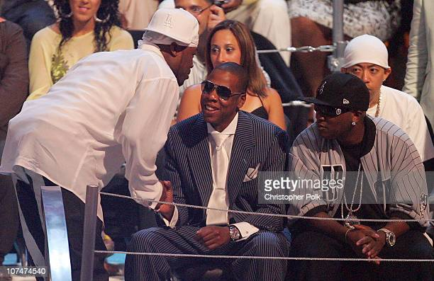 50 Cent and JayZ during 2005 MTV Video Music Awards Show at American Airlines Arena in Miami Florida United States