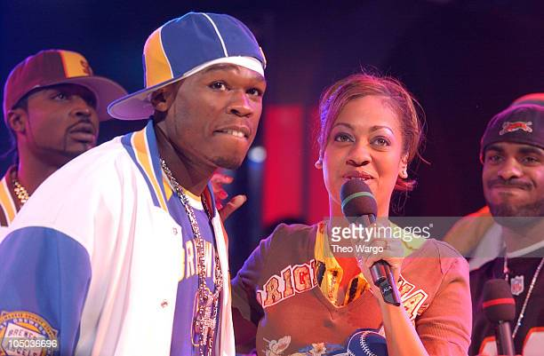 50 Cent and LaLa during 50 Cent on MTV's 'Direct Effect' at MTV Studios Times Square in New York City New York United States
