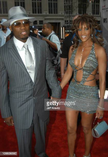 50 Cent and Vivica AFox during 2003 MTV Video Music Awards Arrivals at Radio City Music Hall in New York City New York United States