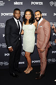 50 Cent Courtney Kemp Agboh and Omari Hardwick attend the 'Power' Season Two Series Premiere at Best Buy Theater on June 2 2015 in New York City