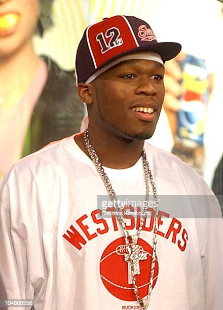 50 Cent during Mya and 50 Cent Visit MTV's 'TRL' February 6 2003 at MTV Studios Times Square in New York City New York United States