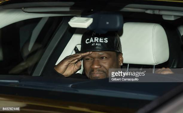 Cent is seen arriving at the Philipp Plein fashion show during New York Fashion Week The Shows at Hammerstein Ballroom on September 9 2017 in New...