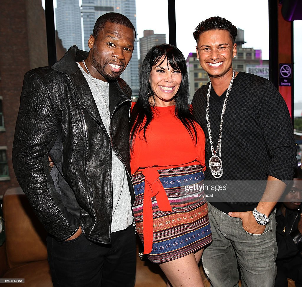 50 Cent, Renee Graziano and Dj Pauly D attend Hot Summer Kick Off Party at Hudson Terrace on May 23, 2013 in New York City.