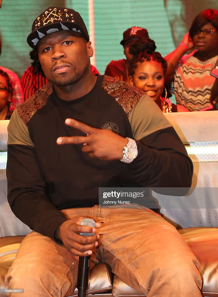50 Cent visits BET's '106 & Park' at BET Studios on January 17, 2013 in New York City.