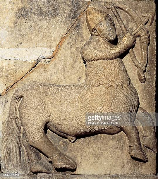 Centaur figure symbolizing the union of body and soul detail of marble relief decoration chapel portal of Tyrol Castle near Merano TrentinoAlto Adige...