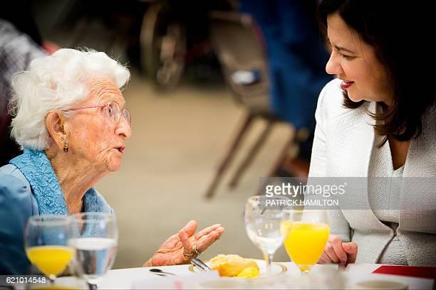 Centenarian Elizabeth Jordan talks with Queensland Premier Annastacia Palaszczuk at the Queensland Parliament in Brisbane on November 4 2016...