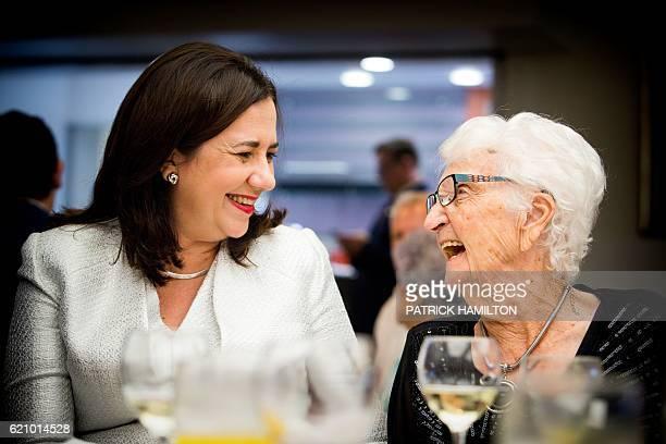 Centenarian Olive Williams talks with Queensland Premier Annastacia Palaszczuk at the Queensland Parliament in Brisbane on November 4 2016 Fortyfive...
