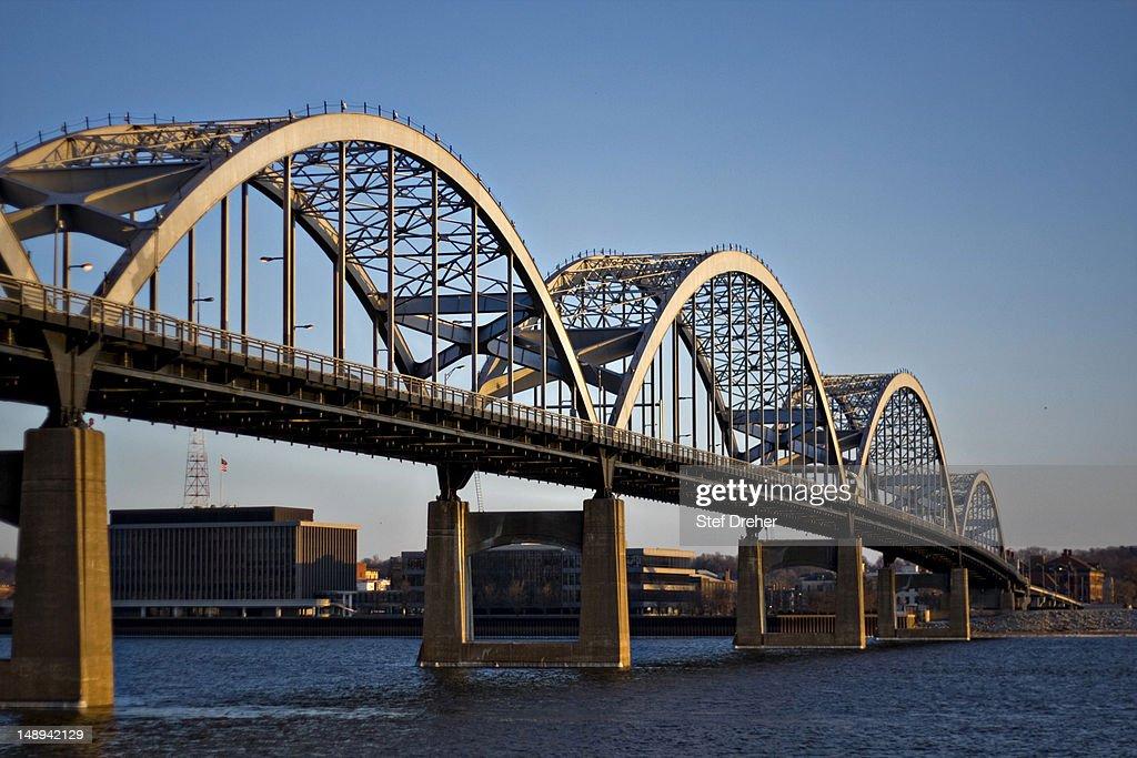 Centennial Bridge, Davenport Iowa : Stock Photo