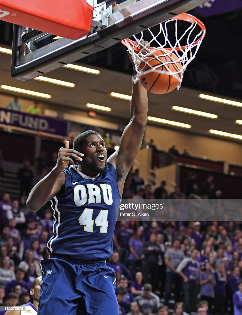 Center Albert Owens #44 of Oral Roberts Golden Eagles dunks the ball against the Kansas State Wildcats during the first half on November 29, 2017 at Bramlage Coliseum in Manhattan, Kansas.