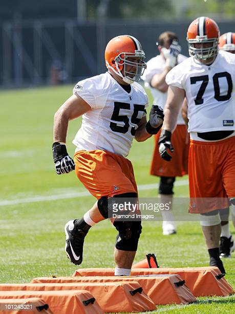 Center Alex Mack of the Cleveland Browns performs an agility drill during the team's organized team activity on May 27 2010 at the Cleveland Browns...