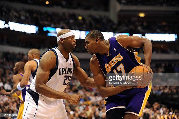 Center Andrew Bynum of the Los Angeles Lakers and Erick Dampier of the Dallas Mavericks on January 13 2010 at American Airlines Center in Dallas...
