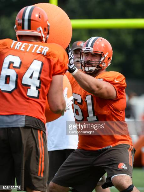 Center Anthony Fabiano of the Cleveland Browns takes part in a drill during a training camp practice on August 2 2017 at the Cleveland Browns...