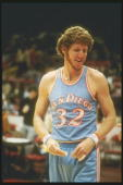 Center Bill Walton of the San Diego Clippers stands on the court during a game against the Chicago Bulls at Chicago Stadium in Chicago Illinois...