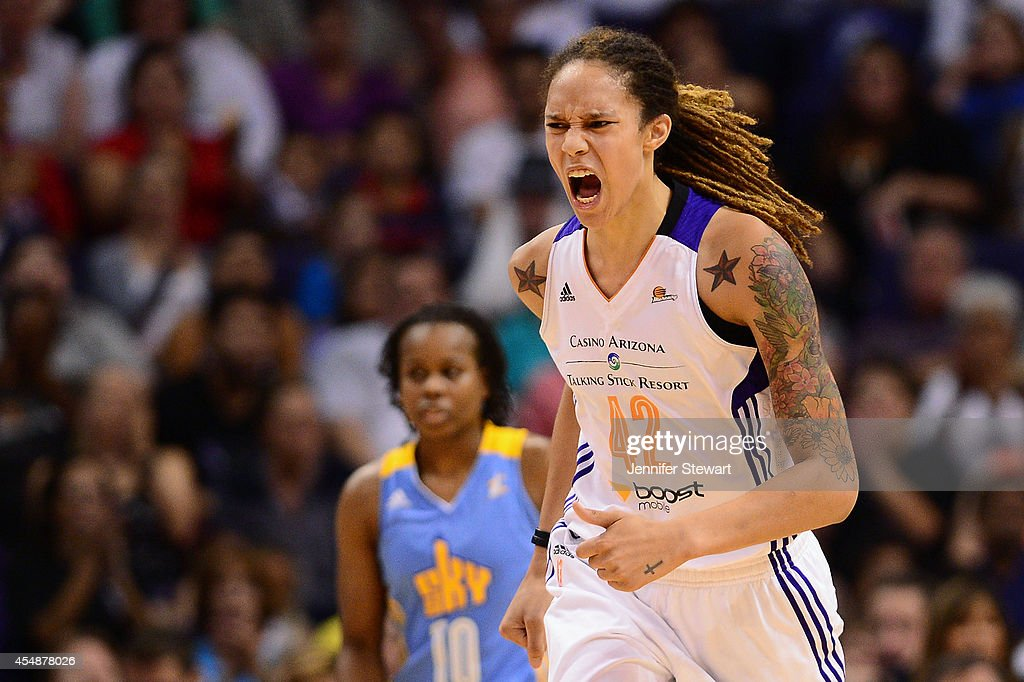 Center Brittney Griner of the Phoenix Mercury reacts on the court against the Chicago Sky during game one of the WNBA Finals at US Airways Center on...