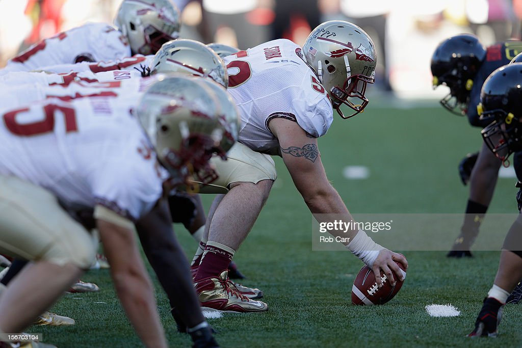 Center Bryan Stork #52 of the Florida State Seminoles waits to snap the ball during the first half against the Maryland Terrapins at Byrd Stadium on November 17, 2012 in College Park, Maryland.
