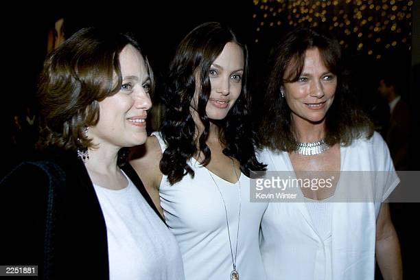 Center cast member Angelina Jolie with her Mother left and actress Jacqueline Bisset before the 'Original Sin' premiere held at DGA Theater in Los...