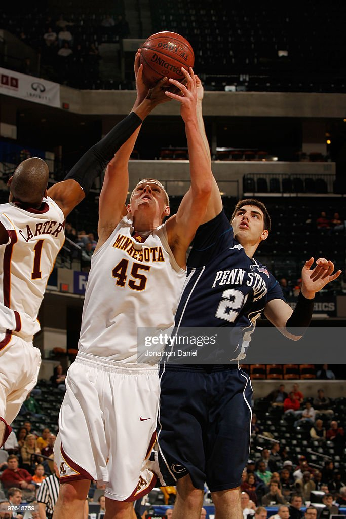 Center Colton Iverson #45 of the Minnesota Golden Gophers grabs a rebound during the first round game against the Penn State Nittany Lion in the Big Ten Men's Basketball Tournament at Conseco Fieldhouse on March 11, 2010 in Indianapolis, Indiana.