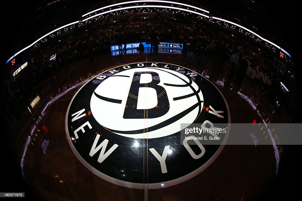 Center court before a game between the Houston Rockets and the Brooklyn Nets at the Barclays Center on April 01, 2014 in the Brooklyn borough of New York City.