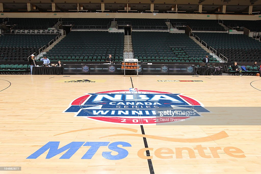 Center Court logo at the MTS Centre prior to the preseason game between the Minnesota Timberwolves and the Detroit Pistons during the NBA preseason game as part of NBA Canada Series 2012 on October 24, 2012 in Winnipeg, Manitoba, Canada.