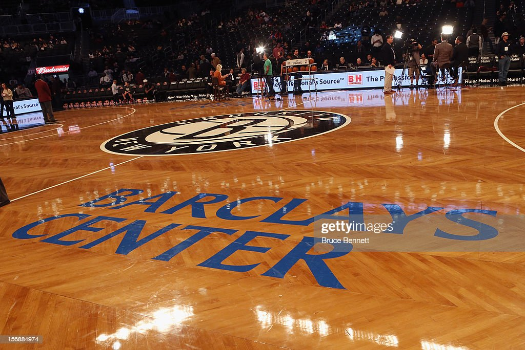 Center court sports the Brooklyn Nets logo prior to the game against the Los Angeles Clippers at the Barclays Center on November 23, 2012 in the Brooklyn borough of New York City.
