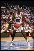 Center David Robinson of the San Antonio Spurs looks to pass the ball during a game Mandatory Credit Allsport /Allsport Mandatory Credit Allsport...